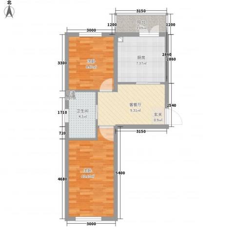 千禧・幸福城2室1厅1卫1厨62.00㎡户型图
