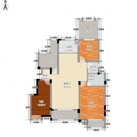 金鹏・爱丽舍宫3室1厅2卫1厨126.00㎡户型图