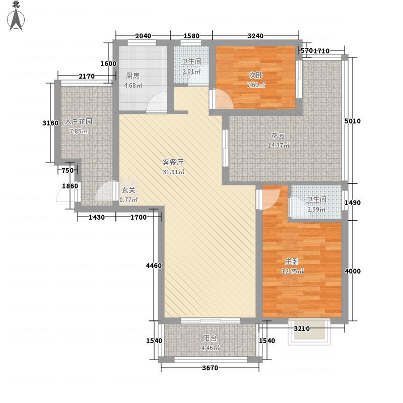 观澜湖126.72㎡B―1户型2室2厅2卫1厨