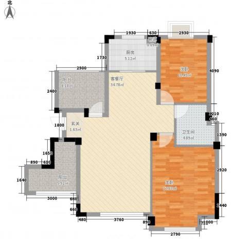 金鹏・爱丽舍宫2室1厅1卫1厨85.30㎡户型图