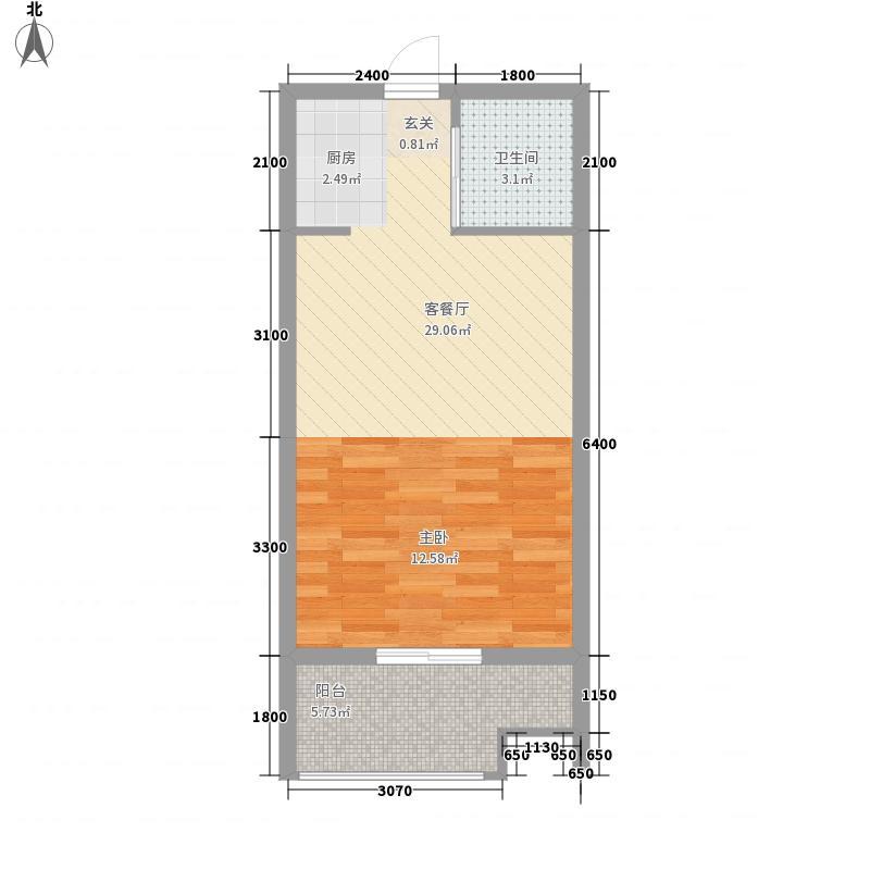 石鼓江锦46.70㎡3-D户型1室1厅1卫
