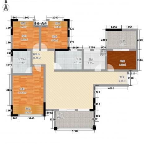 华恩・凯丽滨江4室1厅2卫1厨138.00㎡户型图