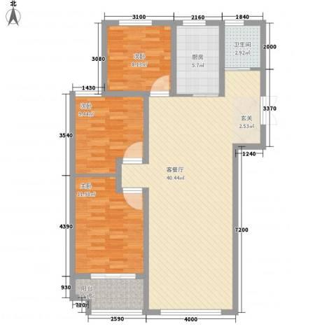锦华广场3室1厅1卫1厨117.00㎡户型图