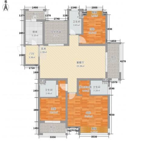 九龙仓繁华里3室1厅3卫1厨166.00㎡户型图