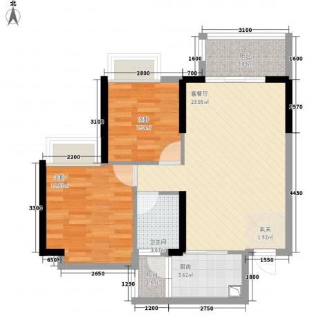 派2室1厅1卫1厨75.00㎡户型图