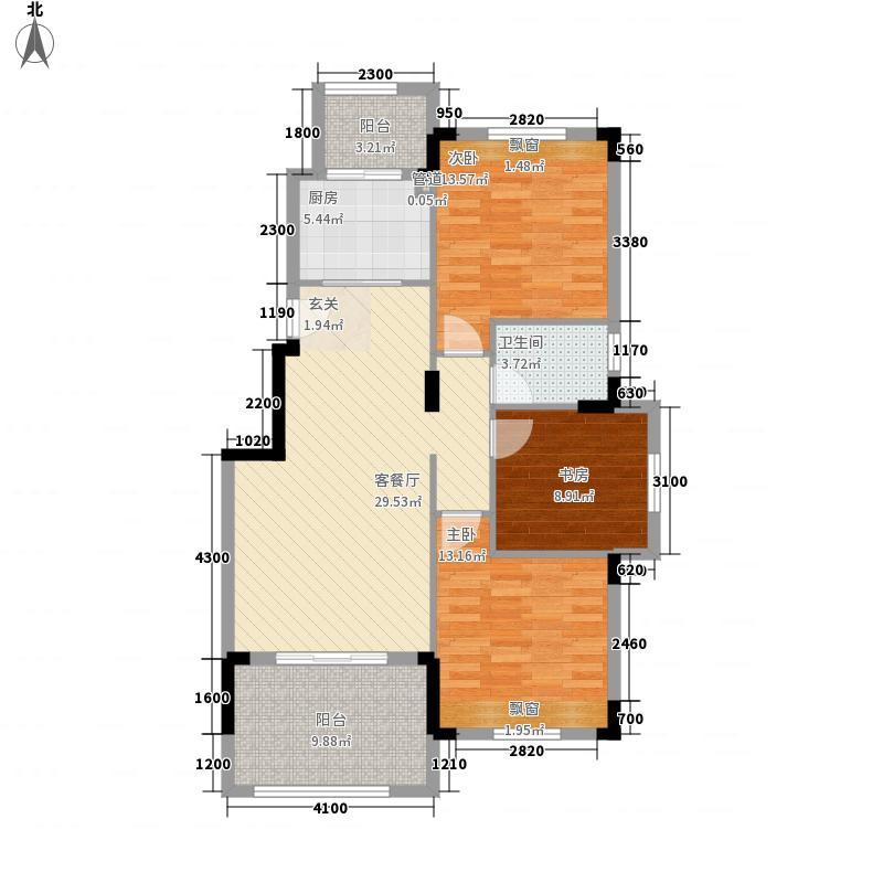 园方欧洲城13.50㎡二期B1户型3室2厅1卫1厨