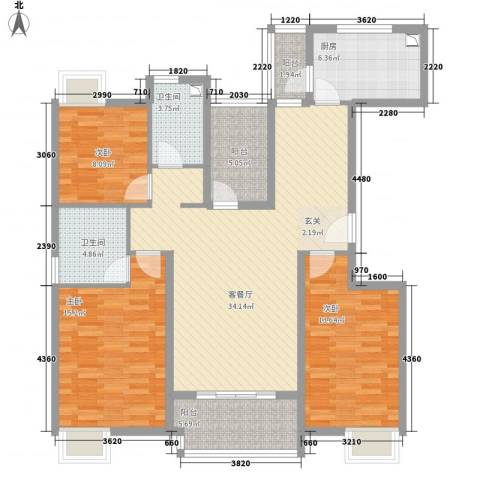 黄山雨润星雨华府3室1厅2卫1厨142.00㎡户型图