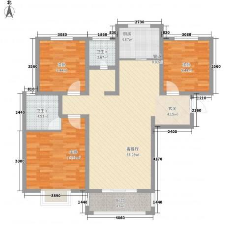 中辰万和城3室1厅2卫1厨127.00㎡户型图