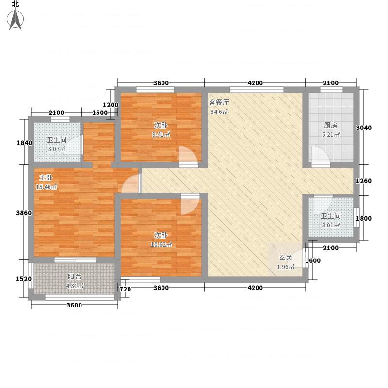 丽彩・溪悦城122.42㎡J户型3室2厅2卫1厨