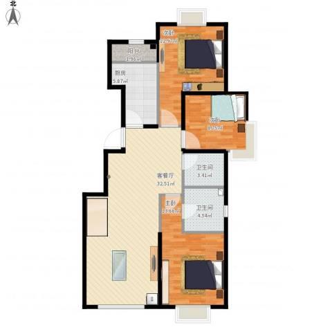中加·博悦3室1厅2卫1厨116.00㎡户型图