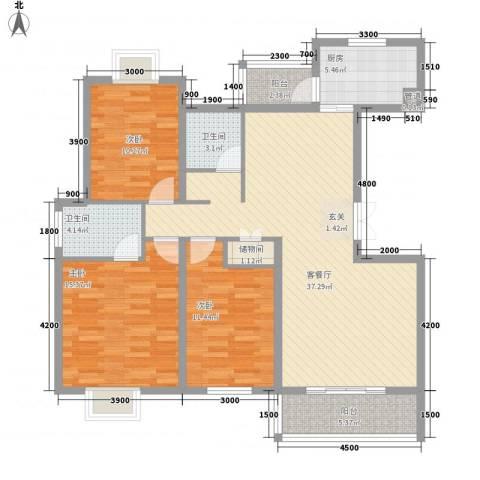 翰林名都3室1厅2卫1厨119.00㎡户型图