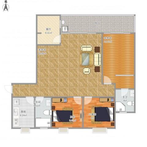 时代华庭2室1厅1卫1厨145.00㎡户型图