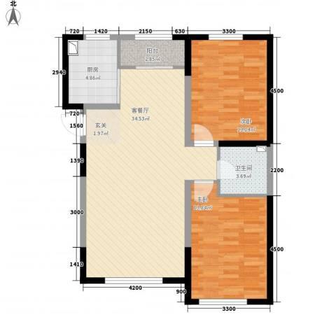 鑫城广场2室1厅1卫1厨103.00㎡户型图
