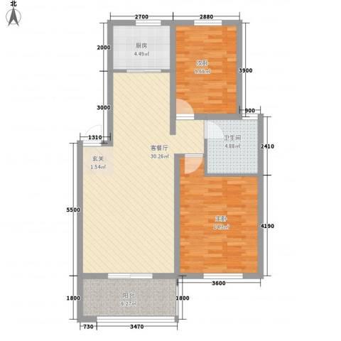 春江明月2室1厅1卫1厨99.00㎡户型图
