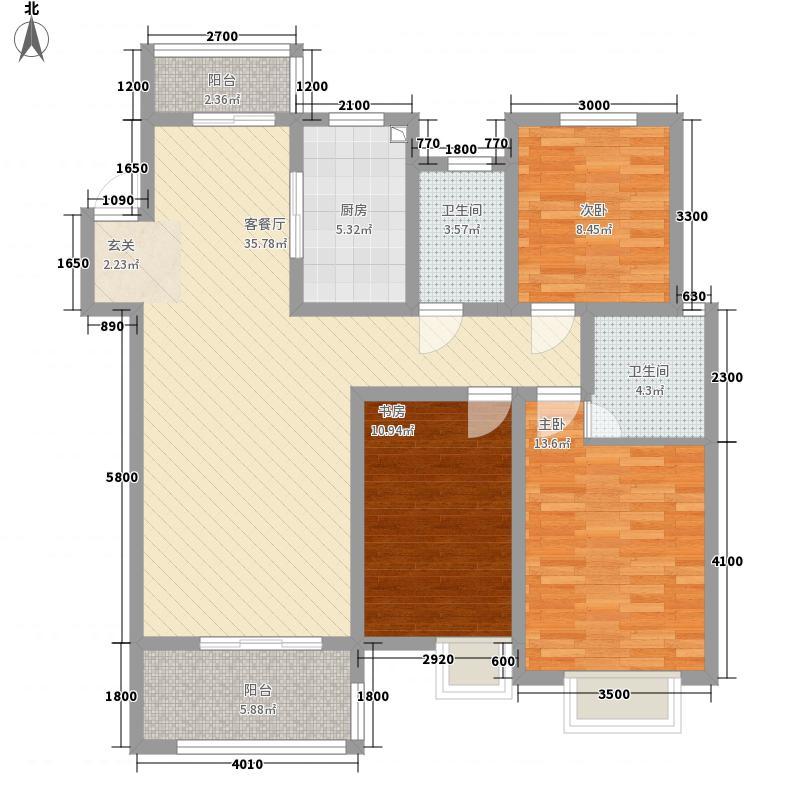 观澜尚郡1.13㎡A2户型3室2厅2卫1厨