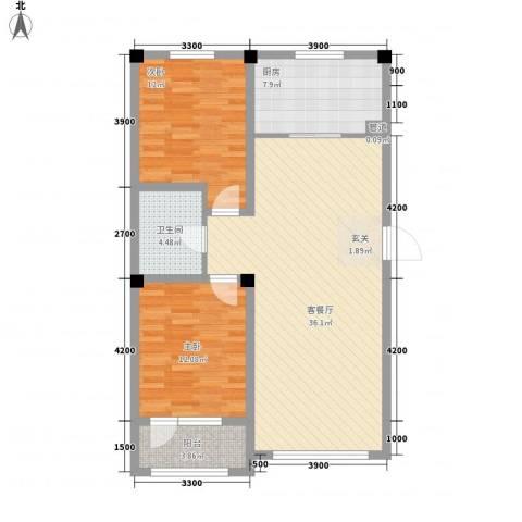 辽阳泛美华庭2室1厅1卫1厨108.00㎡户型图