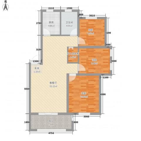 春江明月3室1厅1卫1厨116.00㎡户型图