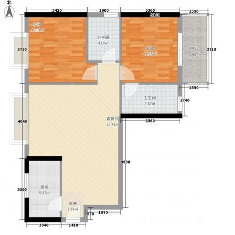 湖畔新城2室1厅2卫1厨73.26㎡户型图