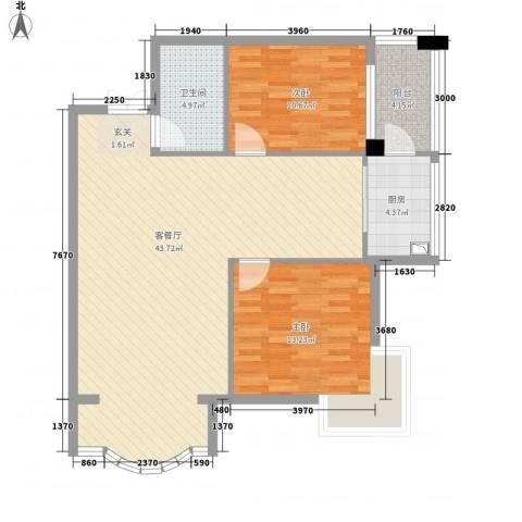 铂宫2室1厅1卫1厨81.11㎡户型图