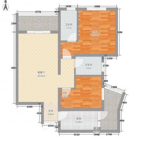 盈丰花园2室1厅2卫1厨102.00㎡户型图