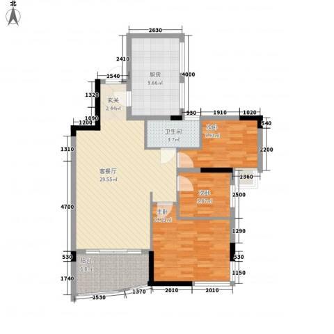 樟村万德楼3室1厅1卫1厨128.00㎡户型图