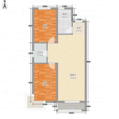 辽阳泛美华庭2室1厅1卫1厨95.00㎡户型图