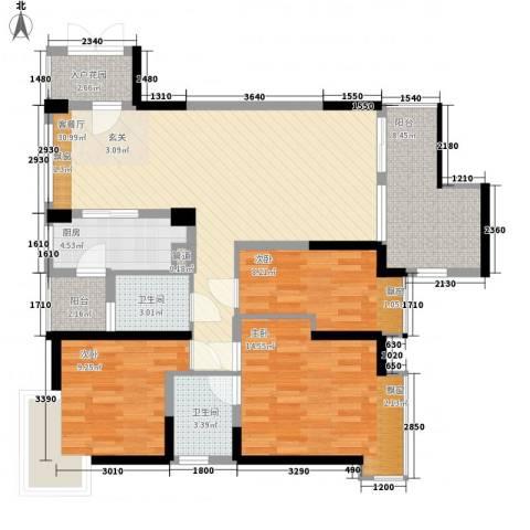 荷兰水乡三期3室1厅2卫1厨134.00㎡户型图