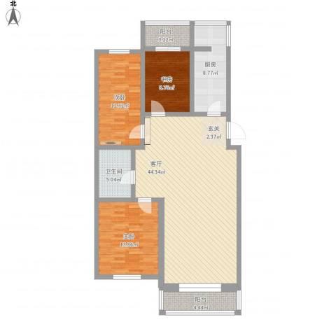 长达公寓3室1厅1卫1厨145.00㎡户型图