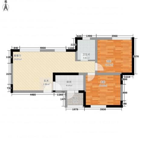 湖畔新城2室1厅1卫1厨57.94㎡户型图