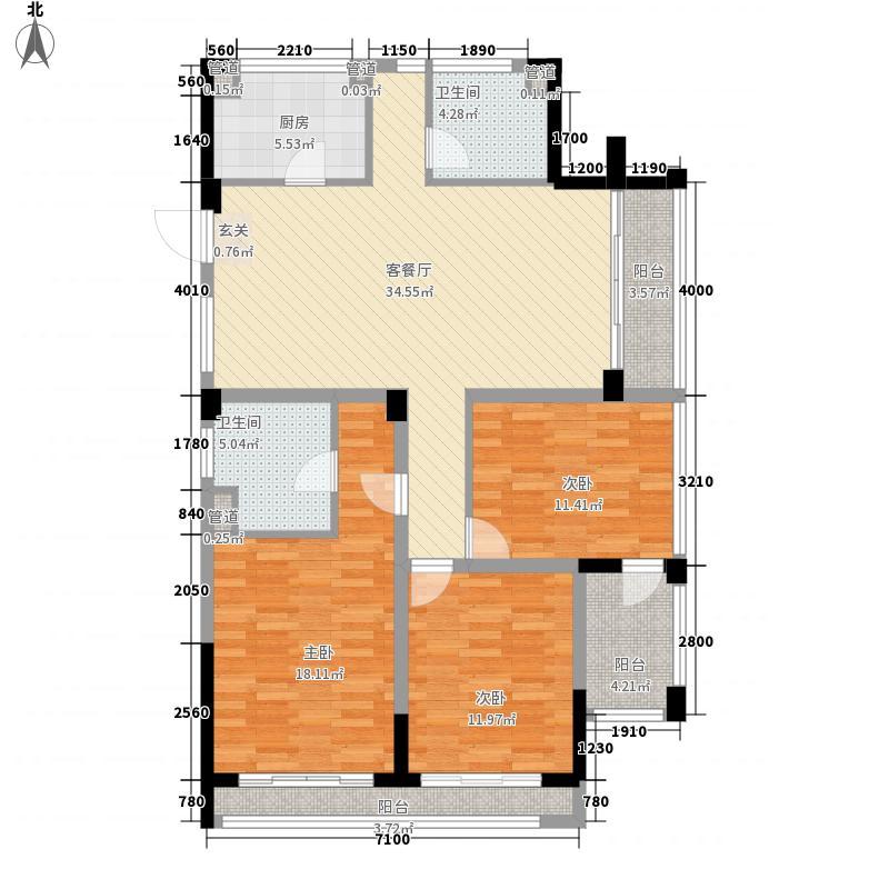 浙铁绿城・玫瑰园138.00㎡I户型3室2厅2卫1厨