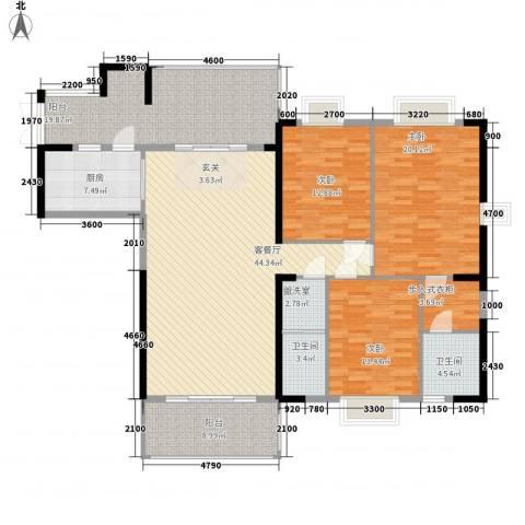 骏景豪庭3室2厅2卫1厨161.00㎡户型图