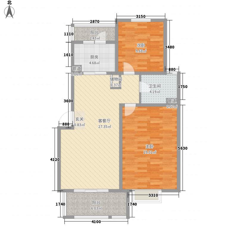 绿地金色水岸105.00㎡3#楼户型2室2厅1卫1厨