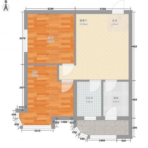 金湖湾首府2室1厅1卫1厨67.00㎡户型图
