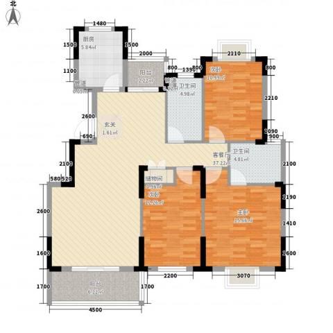 翰林名都3室1厅2卫1厨128.00㎡户型图