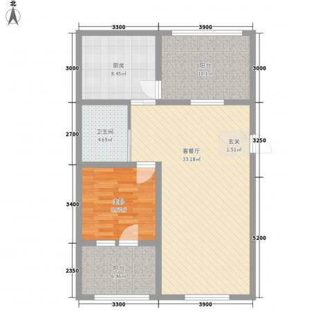辽阳泛美华庭1室1厅1卫1厨103.00㎡户型图