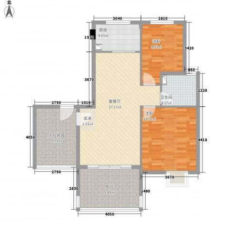 黄山雨润星雨华府2室1厅1卫1厨113.00㎡户型图