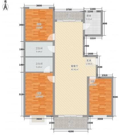 西京府3室1厅2卫1厨153.00㎡户型图