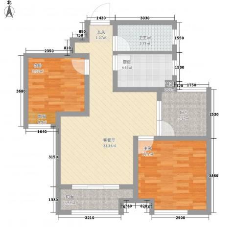 农房・名宿华府2室1厅1卫1厨61.70㎡户型图
