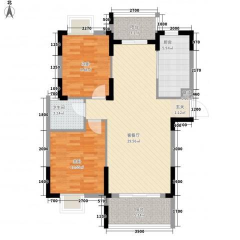 翰林名都2室1厅1卫1厨87.00㎡户型图