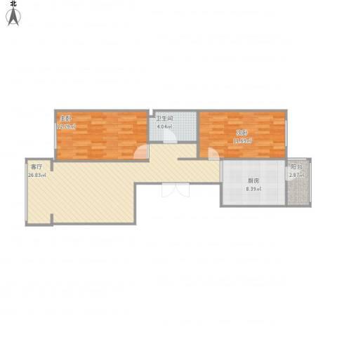 哈南之星2室1厅1卫1厨90.00㎡户型图