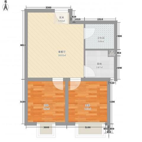 鸿飞逸景2室1厅1卫1厨60.00㎡户型图