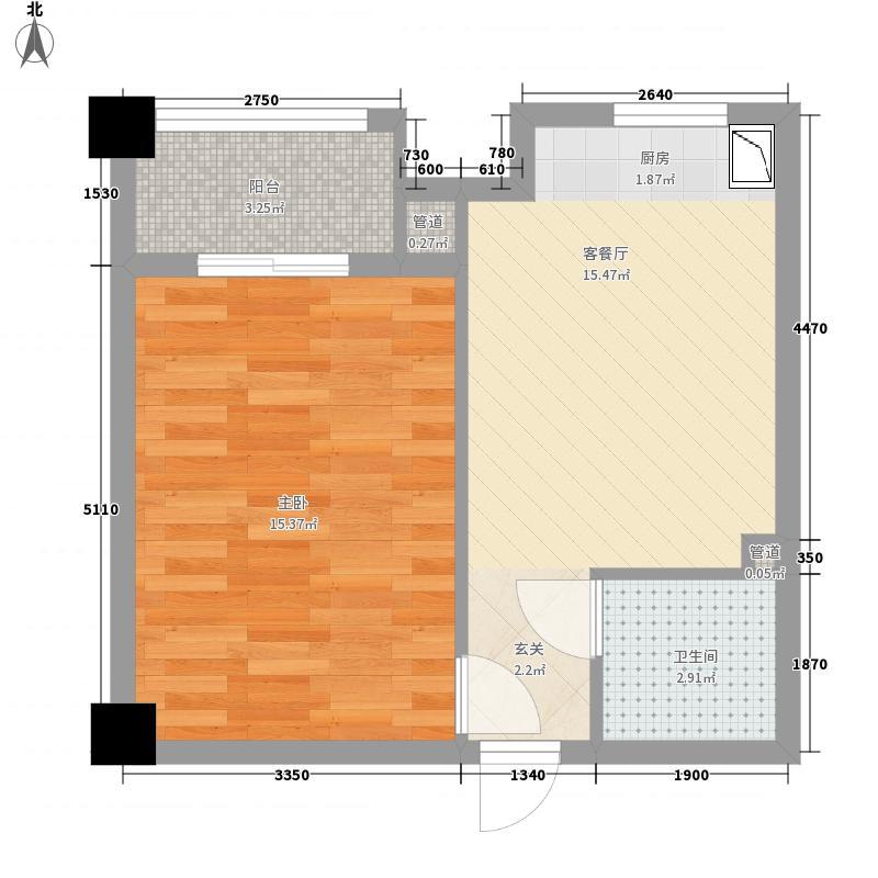 金地国际城2期・阳光里57.25㎡F户型1室1厅1卫1厨