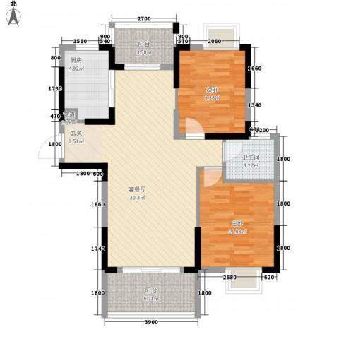 翰林名都2室1厅1卫1厨88.00㎡户型图