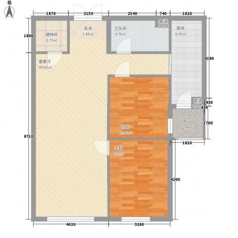 首创・龙湾2室1厅1卫1厨110.00㎡户型图