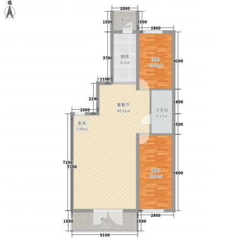 民乐・观澜时代2室1厅1卫1厨126.00㎡户型图
