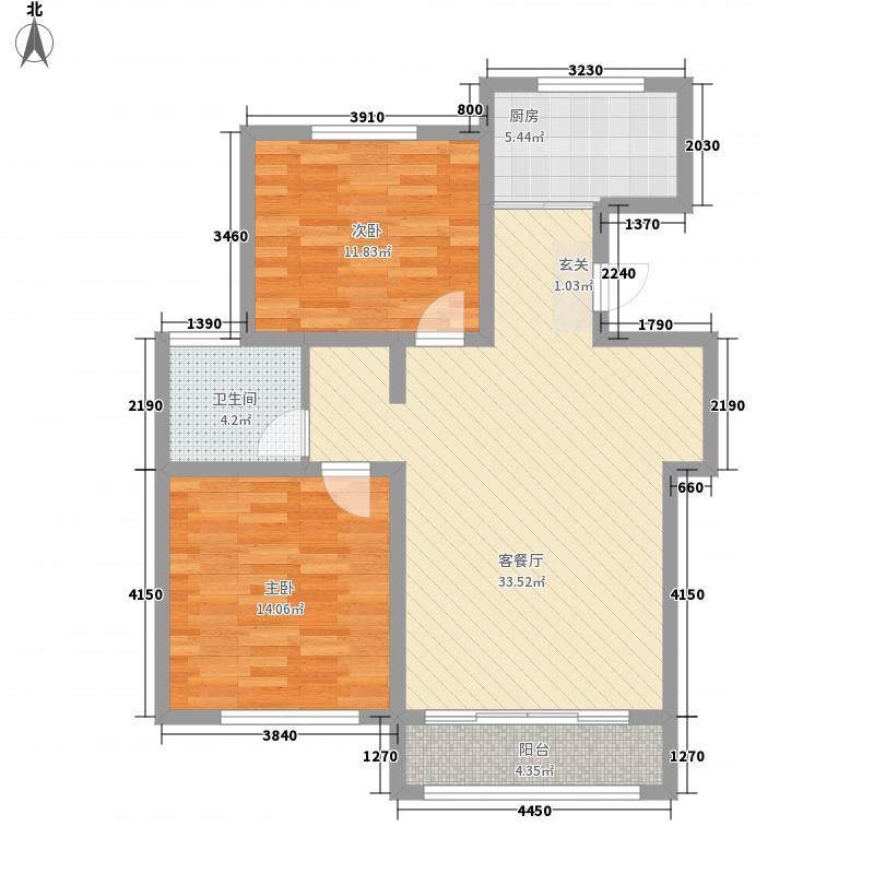 御景嘉苑14.82㎡小高层C户型2室2厅1卫1厨