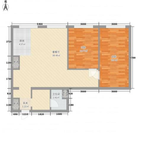 MOMA峰汇2室1厅1卫0厨95.00㎡户型图