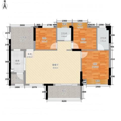 河南岸新村3室1厅2卫1厨126.00㎡户型图
