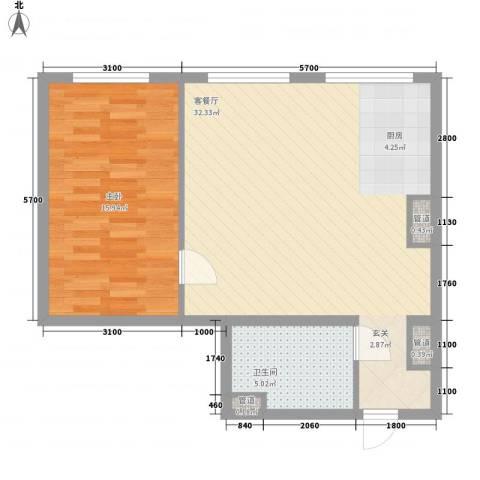 MOMA峰汇1室1厅1卫0厨76.00㎡户型图