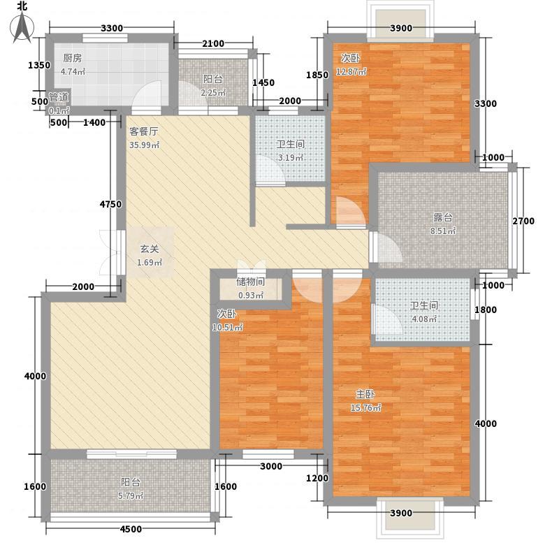 翰林名都13.56㎡三期C3户型3室2厅2卫1厨
